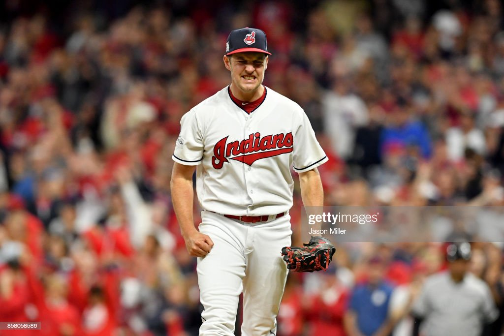 Trevor Bauer #47 of the Cleveland Indians celebrates after retiring the side in the fourth inning on a strike out against the New York Yankees during game one of the American League Division Series at Progressive Field on October 5, 2017 in Cleveland, Ohio.