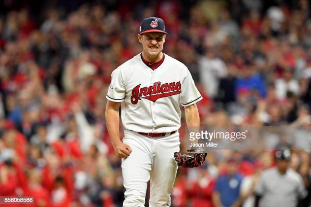 Trevor Bauer of the Cleveland Indians celebrates after retiring the side in the fourth inning on a strike out against the New York Yankees during...