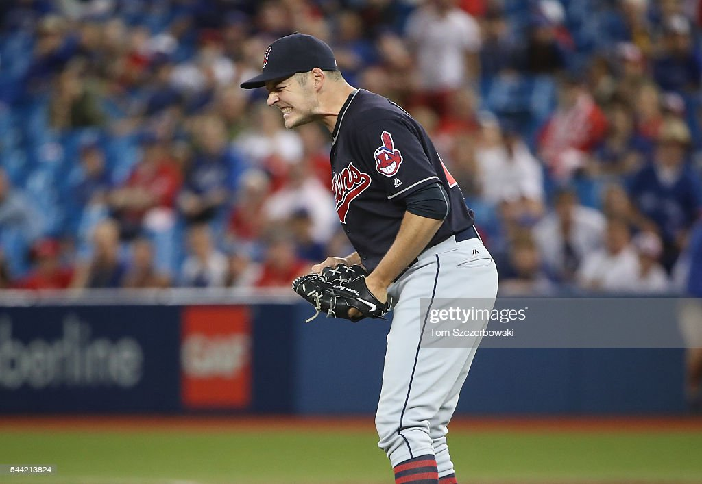 Trevor Bauer #47 of the Cleveland Indians celebrates their fourteenth consecutive victory during MLB game action against the Toronto Blue Jays on July 1, 2016 at Rogers Centre in Toronto, Ontario, Canada.