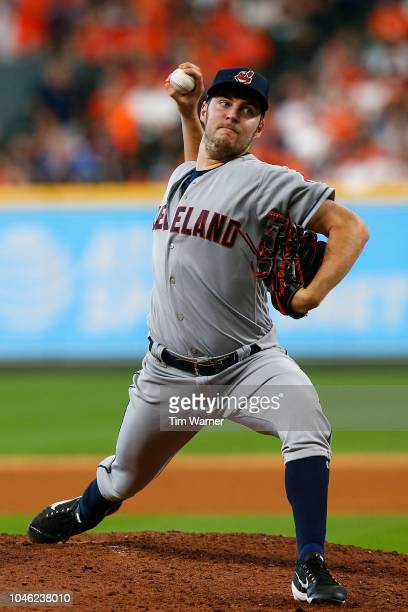 Trevor Bauer of the Cleveland Indians delivers a pitch in the eighth inning against the Houston Astros during Game One of the American League...