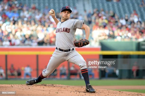 Trevor Bauer of the Cleveland Indians delivers a pitch in the first inning against the Arizona Diamondbacks at Chase Field on April 8 2017 in Phoenix...