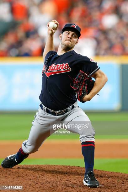 Trevor Bauer of the Cleveland Indians delivers a pitch in the sixth inning against the Houston Astros during Game Two of the American League Division...
