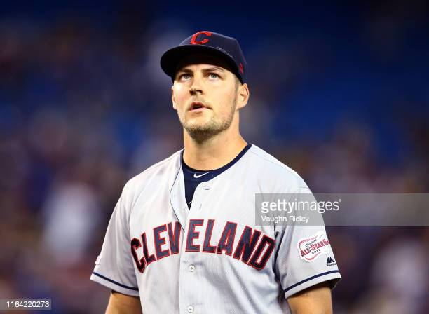 Trevor Bauer of the Cleveland Indians leaves the field in the seventh inning during a MLB game against the Toronto Blue Jays at Rogers Centre on July...