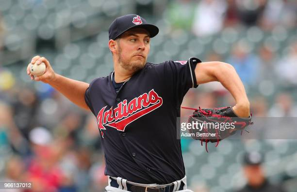 Trevor Bauer of the Cleveland Indians pitches a strike in the first inning against the Minnesota Twins at Target Field on June 2 2018 in Minneapolis...