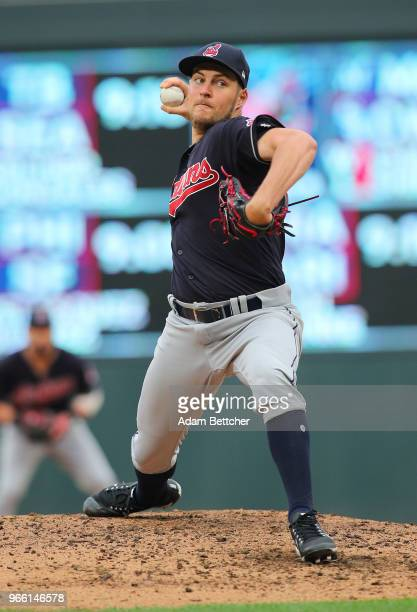 Trevor Bauer of the Cleveland Indians pitches a strike in the third inning against the Minnesota Twins at Target Field on June 2 2018 in Minneapolis...