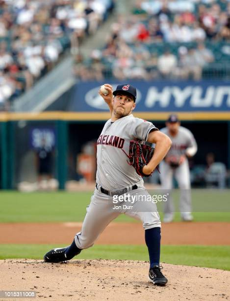 Trevor Bauer of the Cleveland Indians pitches against the Chicago White Sox during the first inning at Guaranteed Rate Field on August 11 2018 in...