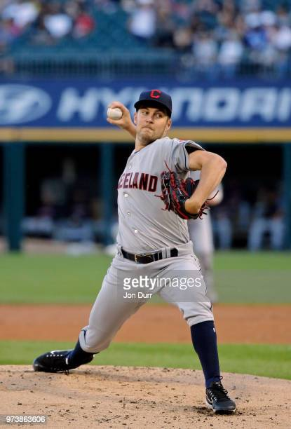 Trevor Bauer of the Cleveland Indians pitches against the Chicago White Sox during the first inning at Guaranteed Rate Field on June 13 2018 in...