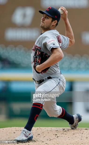 Trevor Bauer of the Cleveland Indians pitches against the Detroit Tigers during the second inning at Comerica Park on April 10 2019 in Detroit...