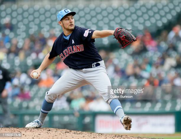 Trevor Bauer of the Cleveland Indians pitches against the Detroit Tigers during the ninth inning at Comerica Park on June 16 2019 in Detroit Michigan...