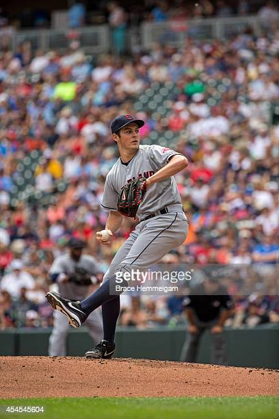 Trevor Bauer of the Cleveland Indians pitches against the Minnesota Twins on July 23 2014 at Target Field in Minneapolis Minnesota The Twins defeated...