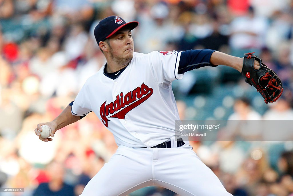 Trevor Bauer #47 of the Cleveland Indians pitches against the New York Yankees during the first inning of their game on August 13, 2015 at Progressive Field in Cleveland, Ohio.