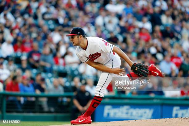 Trevor Bauer of the Cleveland Indians pitches against the New York Yankees in the first inning at Progressive Field on August 4 2017 in Cleveland...