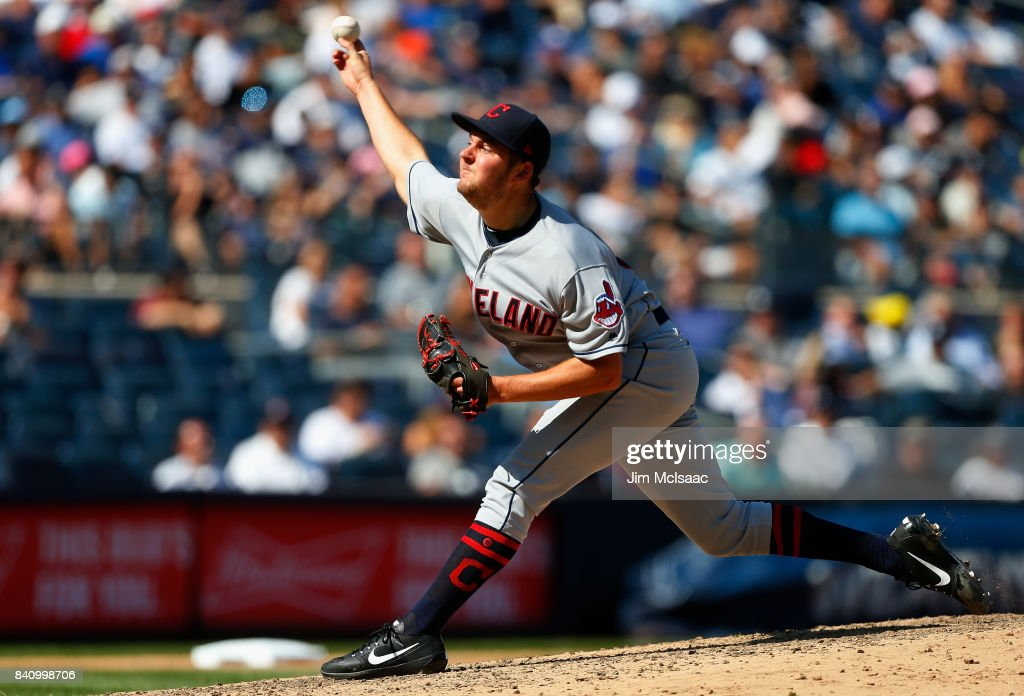 Trevor Bauer #47 of the Cleveland Indians pitches against the New York Yankees in the first game of a doubleheader at Yankee Stadium on August 30, 2017 in the Bronx borough of New York City.