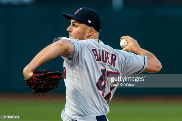 Trevor Bauer of the Cleveland Indians pitches against the Oakland Athletics during the first inning at the Oakland Coliseum on June 29 2018 in...