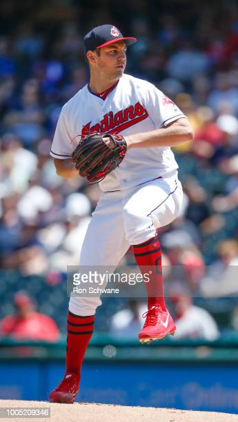 Trevor Bauer of the Cleveland Indians pitches against the Pittsburgh Pirates during the first inning at Progressive Field on July 25 2018 in...