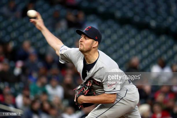 Trevor Bauer of the Cleveland Indians pitches against the Seattle Mariners in the first inning during their game at TMobile Park on April 15 2019 in...