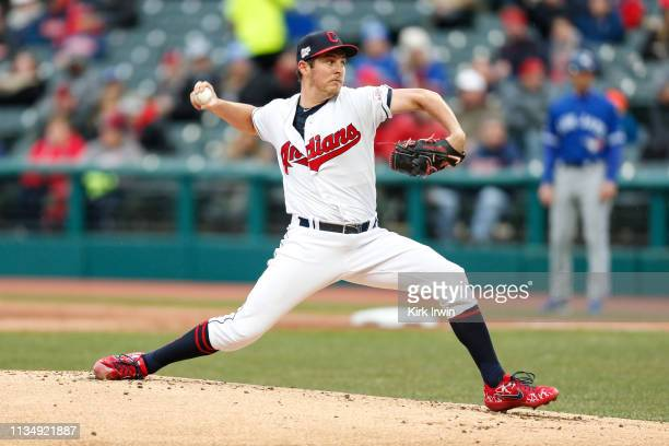 Trevor Bauer of the Cleveland Indians pitches against the Toronto Blue Jays at Progressive Field on Thursday April 4 2019 in Cleveland Ohio
