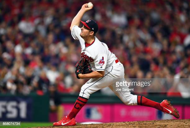 Trevor Bauer of the Cleveland Indians pitches during Game 1 of the American League Division Series against the New York Yankees at Progressive Field...
