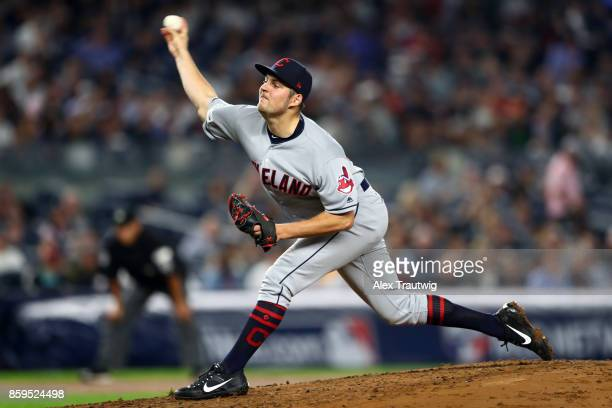 Trevor Bauer of the Cleveland Indians pitches during Game 4 of the American League Division Series against the New York Yankees at Yankees Stadium on...