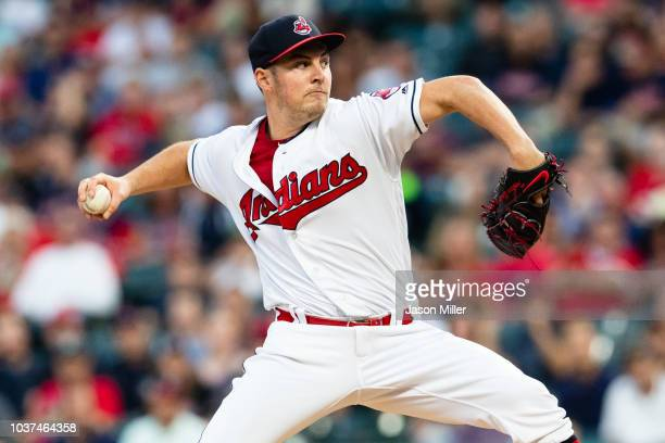 Trevor Bauer of the Cleveland Indians pitches during the first inning against the Boston Red Sox at Progressive Field on September 21 2018 in...