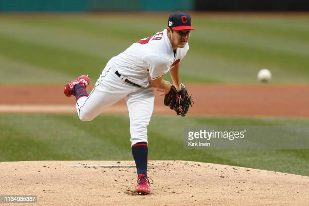 Trevor Bauer of the Cleveland Indians pitches during the first inning against the Toronto Blue Jays at Progressive Field on Thursday April 4 2019 in...