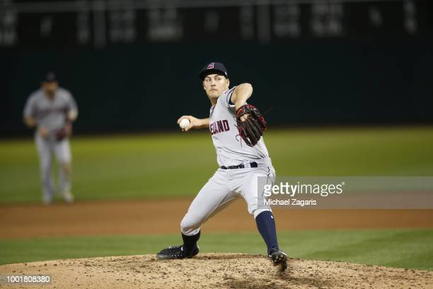Trevor Bauer of the Cleveland Indians pitches during the game against the Oakland Athletics at the Oakland Alameda Coliseum on June 29 2018 in...
