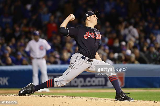 Trevor Bauer of the Cleveland Indians pitches in the first inning in Game Five of the 2016 World Series against the Chicago Cubs at Wrigley Field on...