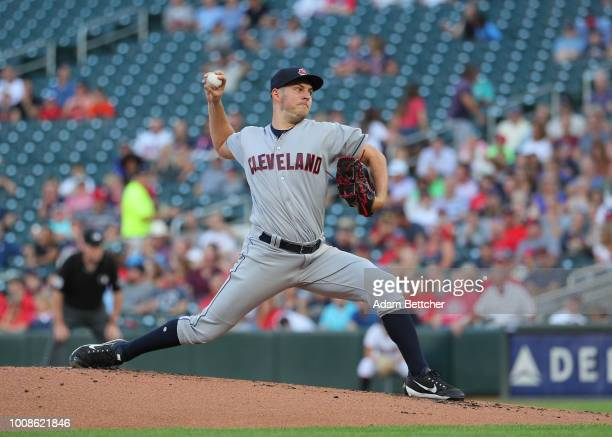 Trevor Bauer of the Cleveland Indians pitches in the first inning against the Minnesota Twins at Target Field on July 31 2018 in Minneapolis Minnesota