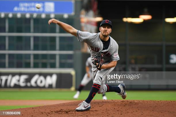 Trevor Bauer of the Cleveland Indians pitches in the first inning during the game against the Houston Astros at Minute Maid Park on Thursday April 25...