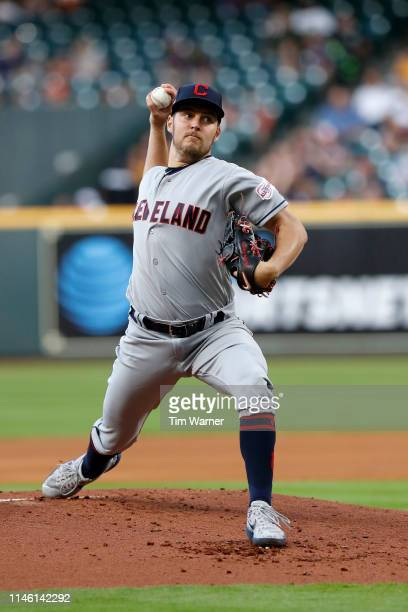 Trevor Bauer of the Cleveland Indians pitches in the first inning against the Houston Astros at Minute Maid Park on April 25 2019 in Houston Texas