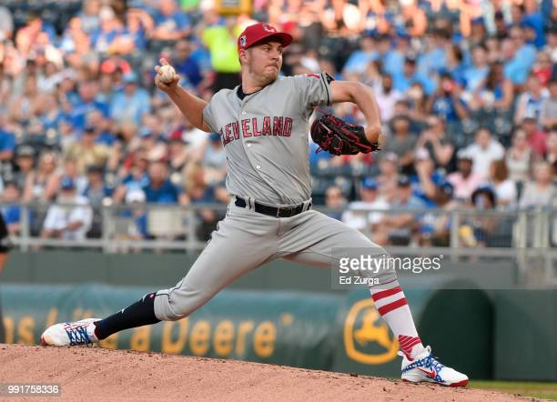 Trevor Bauer of the Cleveland Indians pitches in the first inning against the Kansas City Royals at Kauffman Stadium on July 4 2018 in Kansas City...