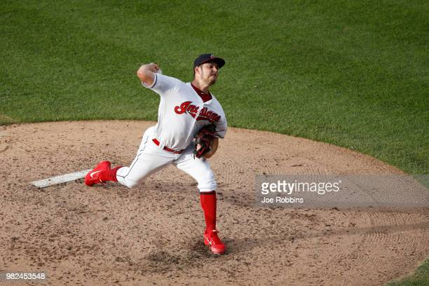 Trevor Bauer of the Cleveland Indians pitches in the fourth inning against the Detroit Tigers at Progressive Field on June 23 2018 in Cleveland Ohio...
