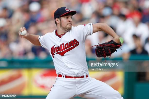 Trevor Bauer of the Cleveland Indians pitches in the second inning against the Detroit Tigers at Progressive Field on June 23 2018 in Cleveland Ohio