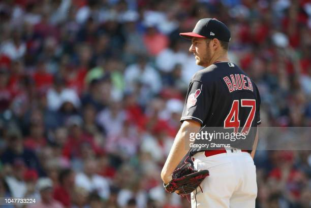 Trevor Bauer of the Cleveland Indians pitches in the sixth inning against the Houston Astros during Game Three of the American League Division Series...