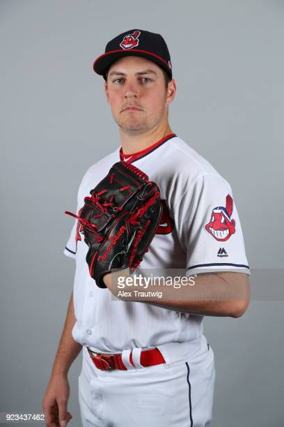 Trevor Bauer of the Cleveland Indians poses during Photo Day on Wednesday February 21 2018 at Goodyear Ballpark in Goodyear Arizona