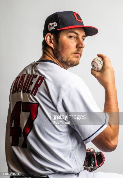 Trevor Bauer of the Cleveland Indians poses for a portrait at the Cleveland Indians Player Development Complex on February 21 2019 in Goodyear Arizona