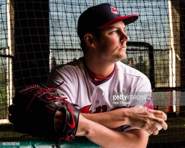 Trevor Bauer of the Cleveland Indians poses for a portrait at the Cleveland Indians Player Development Complex on February 21 2018 in Goodyear Arizona