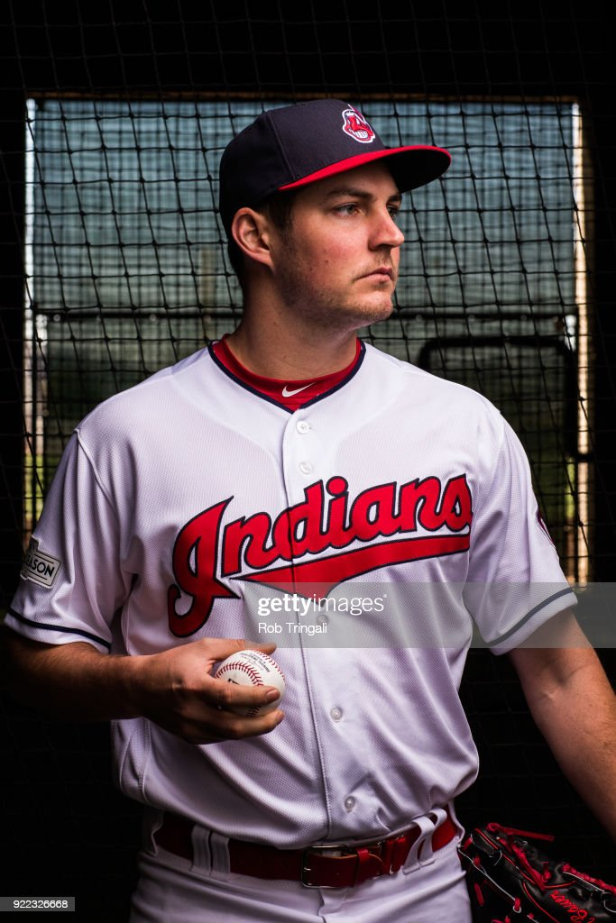 Trevor Bauer of the Cleveland Indians poses for a portrait at the Cleveland Indians Player Development Complex on February 21, 2018 in Goodyear, Arizona.