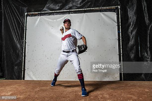 Trevor Bauer of the Cleveland Indians poses for a portrait during photo day at the Cleveland Indians Development Complex on February 27, 2016 in...