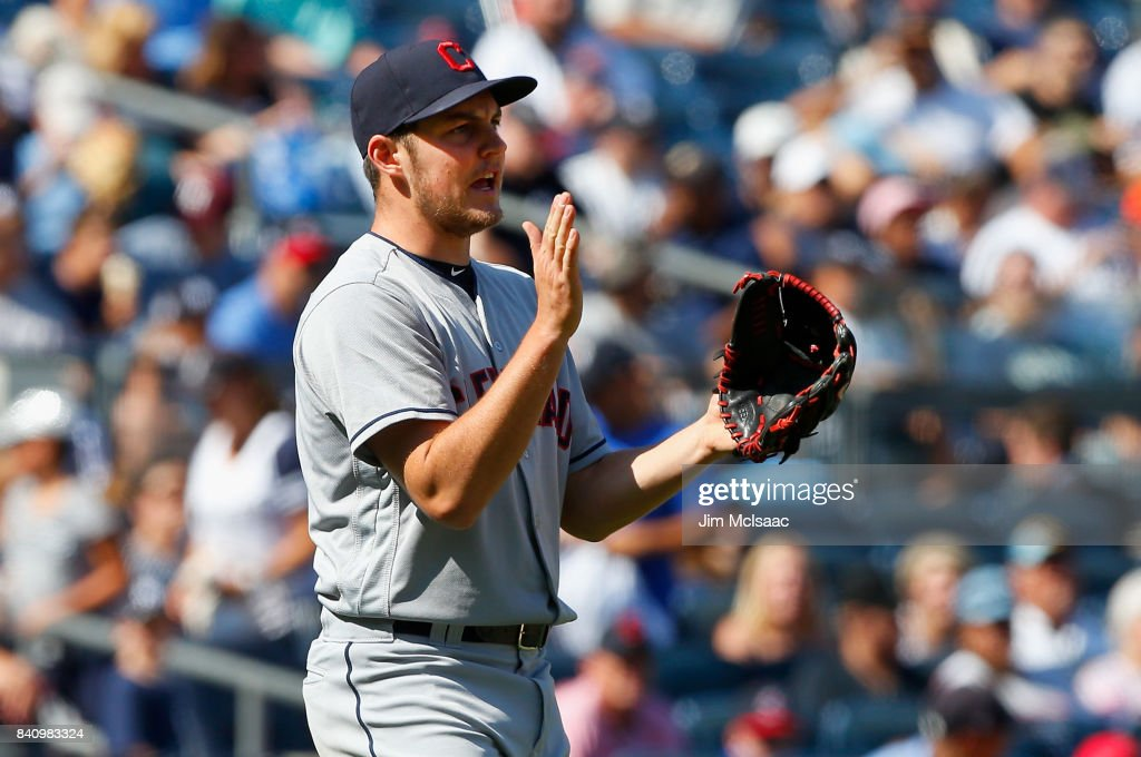 Trevor Bauer #47 of the Cleveland Indians reacts after the final out of the sixth inning against the New York Yankees in the first game of a doubleheader at Yankee Stadium on August 30, 2017 in the Bronx borough of New York City.