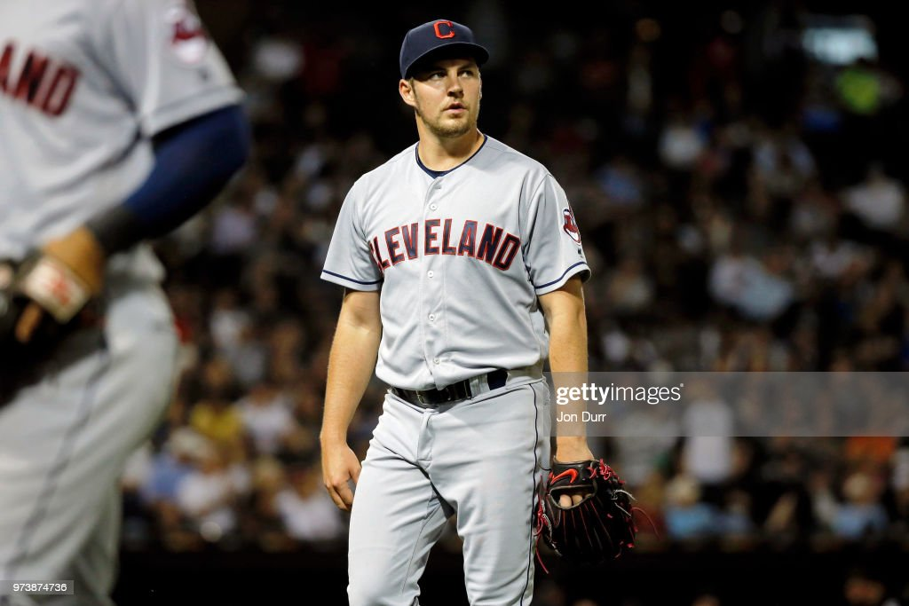 Trevor Bauer #47 of the Cleveland Indians reacts as he walks off the field after giving up one run to the Chicago White Sox during the sixth inning at Guaranteed Rate Field on June 13, 2018 in Chicago, Illinois.