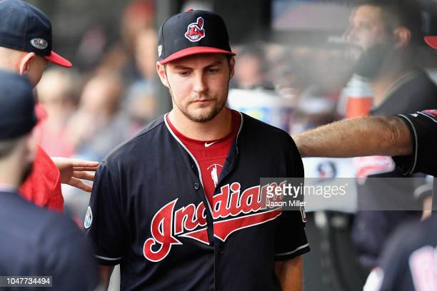 Trevor Bauer of the Cleveland Indians reacts in the dugout after being pulled in the seventh inning against the Houston Astros during Game Three of...
