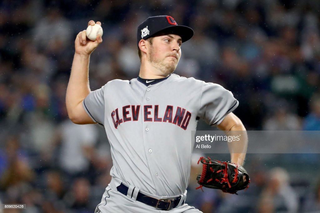 Trevor Bauer #47 of the Cleveland Indians throws a pitch against the New York Yankees during the first inning in Game Four of the American League Divisional Series at Yankee Stadium on October 9, 2017 in the Bronx borough of New York City.