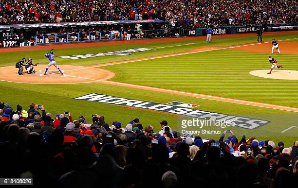Trevor Bauer of the Cleveland Indians throws a pitch to Dexter Fowler of the Chicago Cubs during the first inning in Game Two of the 2016 World...