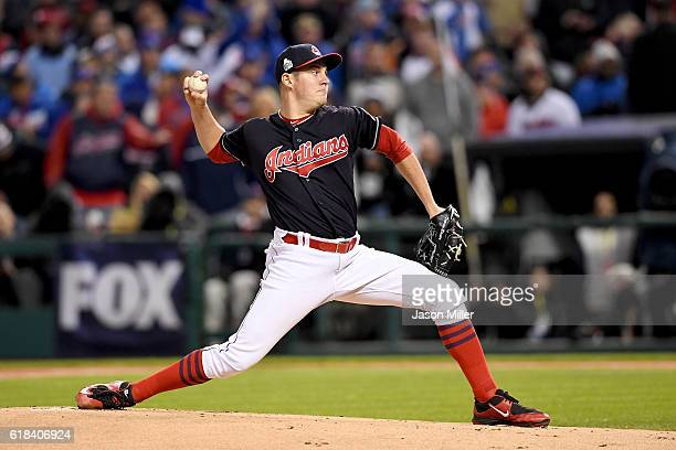 Trevor Bauer of the Cleveland Indians throws the first pitch during the first inning in Game Two of the 2016 World Series against the Chicago Cubs at...