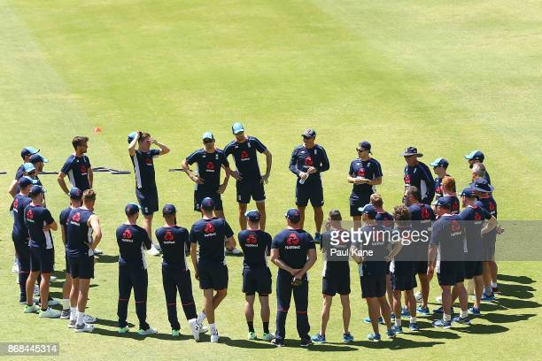 Trevor Bayliss head coach of England addresses the team during an England training session at the WACA on October 31 2017 in Perth Australia England...