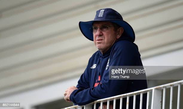 Trevor Bayliss Head Coach of England looks on during an England Nets Session at the Brightside Ground on September 23 2017 in Bristol England