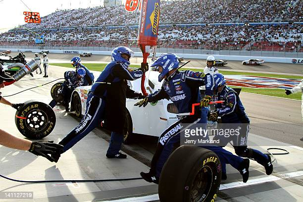 Trevor Bayne driver of the Roush Fenway Racing 25th Anniversary Ford pits during the NASCAR Nationwide Series Sam's Town 300 at Las Vegas Motor...