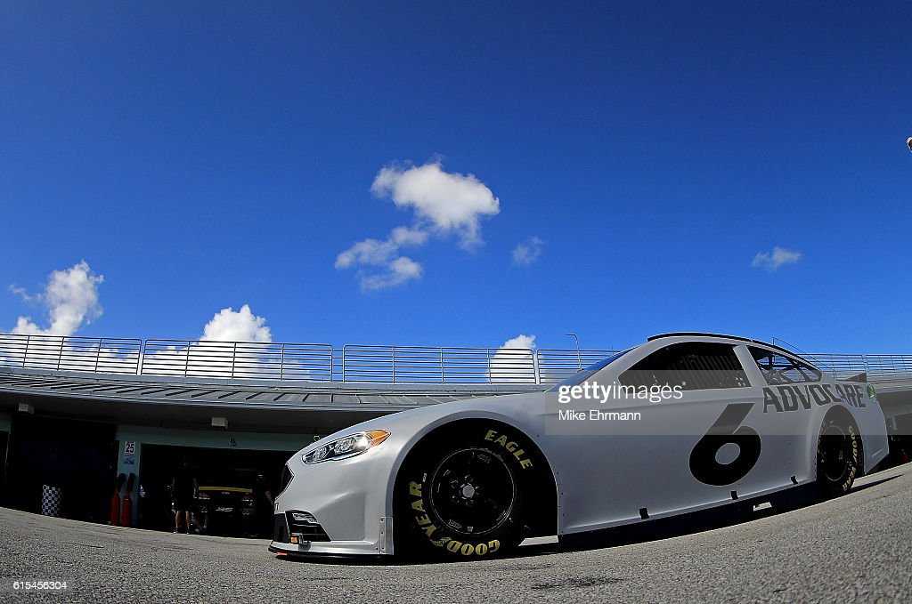 Trevor Bayne, drives the #6 Roush Fenway Racing Ford during testing at Homestead-Miami Speedway on October 18, 2016 in Homestead, Florida.