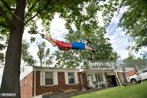 Trevor Beckermann age 7 on a tree swing outside he home located near the West Lake Landfill in the greater St Louis MO on June 1 2017 West Lake was...
